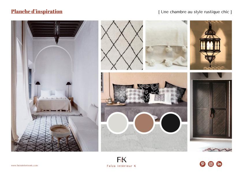 planche d'inspiration chambre style rustique chic